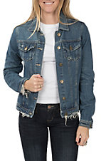 One 5 One Women's Medium Wash Distressed Denim Jacket