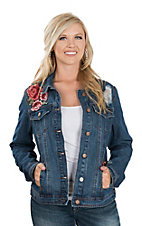 One 5 One Women's Denim w/ Red Rose Embroidery Jacket