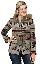 Wired Heart Women's Multicolored Southwestern Print Jacket with Fur Collar - Plus Sizes