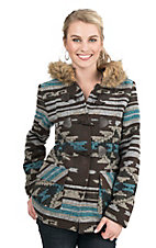 Wired Heart Women's Brown, White, and Turquoise Aztec Print with Fur Hooded Jacket