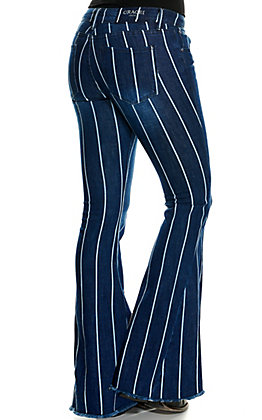 Grace in La Women's Dark Wash with White Stripes Flare Leg Jeans