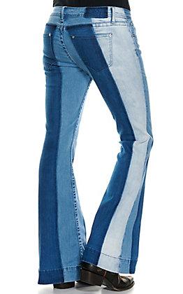 Grace in LA Women's Multi Stripes Flare Leg Jeans