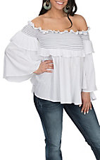 Vintage Havana Women's White with Black Smocking Off the Shoulder Embroidered Fashion Shirt