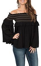 Vintage Havana Women's Black Smocking Off the Shoulder Embroidered Fashion Shirt