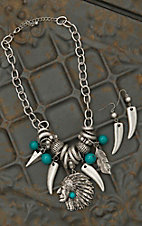 Silver Indian Head with Big Silver Beads Jewelry Set