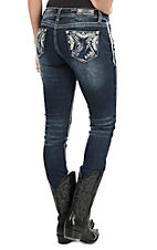 Grace in LA Women's Faded Dark Wash with Pyramid Print Embroidery Open Pocket Skinny Jeans