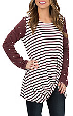 James C Women's Burgundy and Ivory Stripe & Dot L/S Fashion Shirt