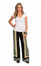 Flying Tomato Women's Black with Mixed Print Trim Palazzo Pants
