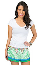 Flying Tomato Women's Green Multi Print Flowy Shorts