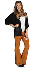 Jealous Tomato Women's Rust Faux Suede Pants