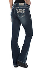 Grace in LA Women's Dark Wash Zigzag Embroidered Pockets Boot Cut Jeans