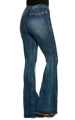 Jealous Tomato Women's Dark Wash Center Seam Flare Leg Jeans
