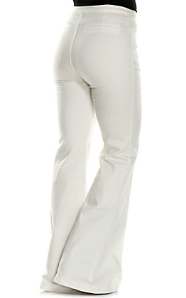 Jealous Tomato Women's White with Front Seam High Waist Flare Leg Jeans