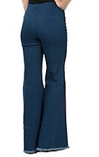 Jealous Tomato Women's Dark Wash Frayed Trouser