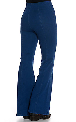 Jealous Tomato Medium Wash with Front Seam High Waist Flare Leg Jeans