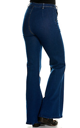 Jealous Tomato Women's Dark Wash with Center Seam Bell Bottom Jeans