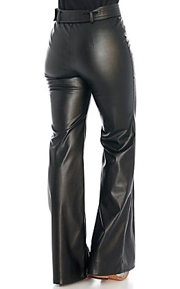 Jealous Tomato Women's Black Faux Leather Flare Pants