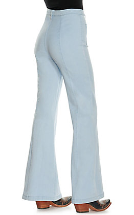 Jealous Tomato Women's Light Wash Center Seam Flare Leg Jeans