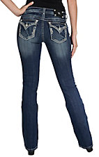 Miss Me Women's Medium Wash Studs and Crystals Flap Button Pocket Signature Bootcut Jean