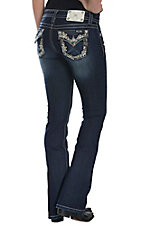 Miss Me Women's Dark Wash Ivory Flower with Colored Sequins Flap Button Pocket Signature Bootcut Jean