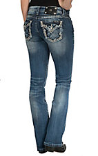Miss Me Women's Medium Wash with Lurex Embroidery & Studs Button Flap Pocket Signature Bootcut Jean