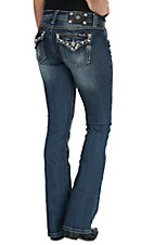 Miss Me Women's Medium-Dark Wash Pretty Pearly Button Flap Pocket Boot Cut Jeans