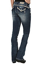 Miss Me Women's Dark Wash with Pearl Embellishment Flap Pocket Boot Cut Jeans