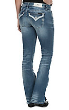 Miss Me Women's Light Wash with Sequins & Beads Button Flap Pocket Signature Boot Jeans