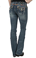 Miss Me Women's Medium Wash with Tribal Embroidery Open Pocket with Flap Signature Boot Jeans