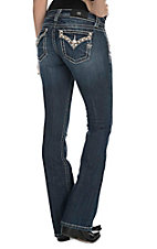 Miss Me Women's Medium Wash with Embroidered with Rhinestone Accents Open Pocket Signiture Boot Cut Jeans