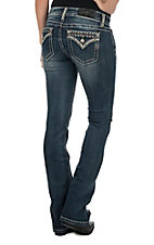 Miss Me Women's Medium Wash with Embroidered Original Design and Rhinestone Accents Open Pocket Signiture Boot Cut Jeans