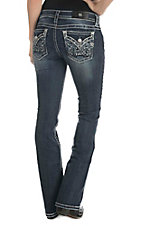 Miss Me Women's Dark Wash with Embroidered Pattern Open Pocket Boot Cut Jeans