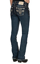 Miss Me Women's Medium-Dark Wash Desert Flower Slim Boot Jeans