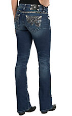 Miss Me Women's Medium Wash Open Back Pocket Flash & Sparkle Boot Cut Jeans