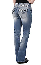 Miss Me Women's Light Wash with White and Black Embroidery Button Down Pocket Boot Cut Jeans