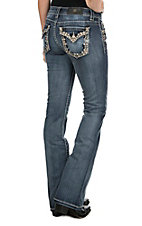 Miss Me Women's Faded Medium Wash with Blush Thick Stitch Embroidery and Rhinestone Accents Flap Pocket Boot Cut Jeans