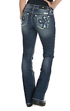 Miss Me Women's Medium Wash with Blue Embroidered Cross Open Pocket Boot Cut Jeans