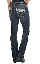 Miss Me Women's Dark Wash with Sequin Design Fake Flap Open Pocket Boot Cut Jeans