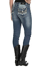 Miss Me Women's Medium Wash with Chevron Embroidery and Destroyed Details Open Pocket Skinny Jeans