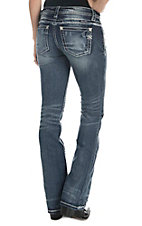 Miss Me Women's Faded Dark Wash with Destruction Details Open Pocket Boot Cut Jeans