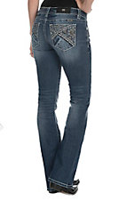 Miss Me Women's Medium Wash with Triangle Embroidery Open Pocket Boot Cut Jeans