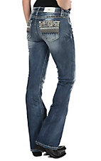 Miss Me Women's Medium Wash with Scalloped Chevron Embroidered Open Pocket Boot Cut Jeans