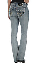 Miss Me Women's Light Wash with Leather & Embroidered Crystal Cross Open Button Flap Pocket Boot Cut Jean