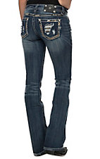 Miss Me Women's Medium-Dark Wash Running Lines Border Boot Cut Jeans