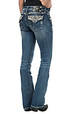 Miss Me Women's Medium Wash Neutral Metallic Embroidery with Crystals Flap Pocket Boot Cut Jeans
