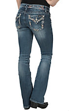 Miss Me Women's Medium Wash with Chevron Embroidery Open Pocket with Flap Signature Boot Jeans