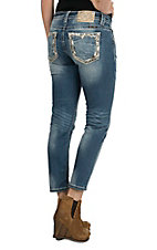 Miss Me Women's Light Wash with Gold Sequin and Thick Stitch Open Pocket Ankle Length Skinny Jeans