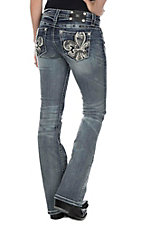 Miss Me Women's Faded Medium Wash with Sequin Fleur De Lis Open Pocket Boot Cut Jeans
