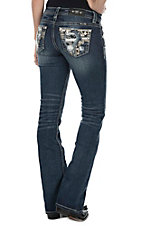 Miss Me Women's Dark Wash with Gold Leather and Dequin Decorated Open Pocket Boot Cut Jeans