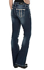 Miss Me Women's Dark Wash with Gold Embroidered Open Pocket Boot Cut Jeans